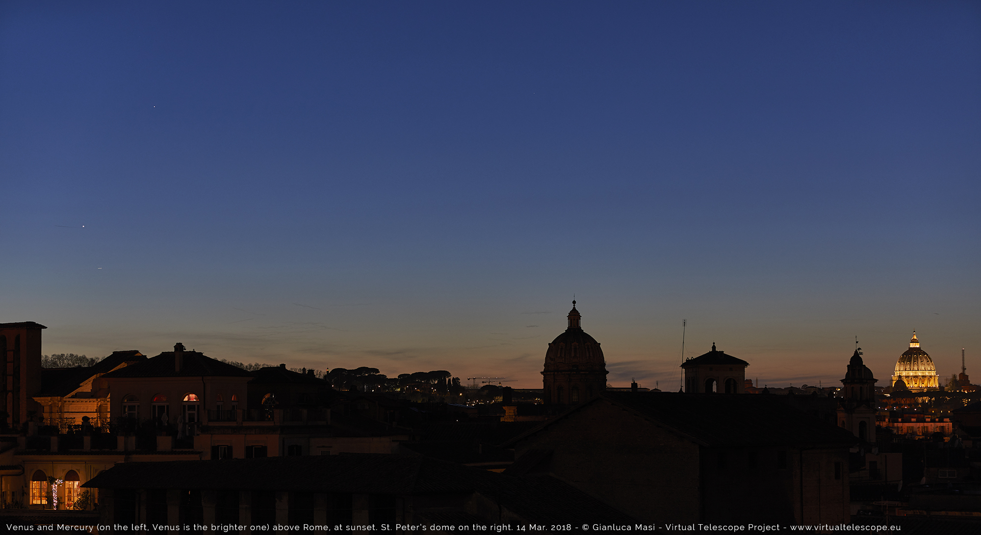 Venus and Mercury shine above the skyline of Rome, with St. Peter's dome on the right. 14 Mar. 2018