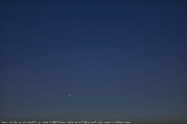 Venus and Mercury from Rome, at sunset. 14 Mar. 2018
