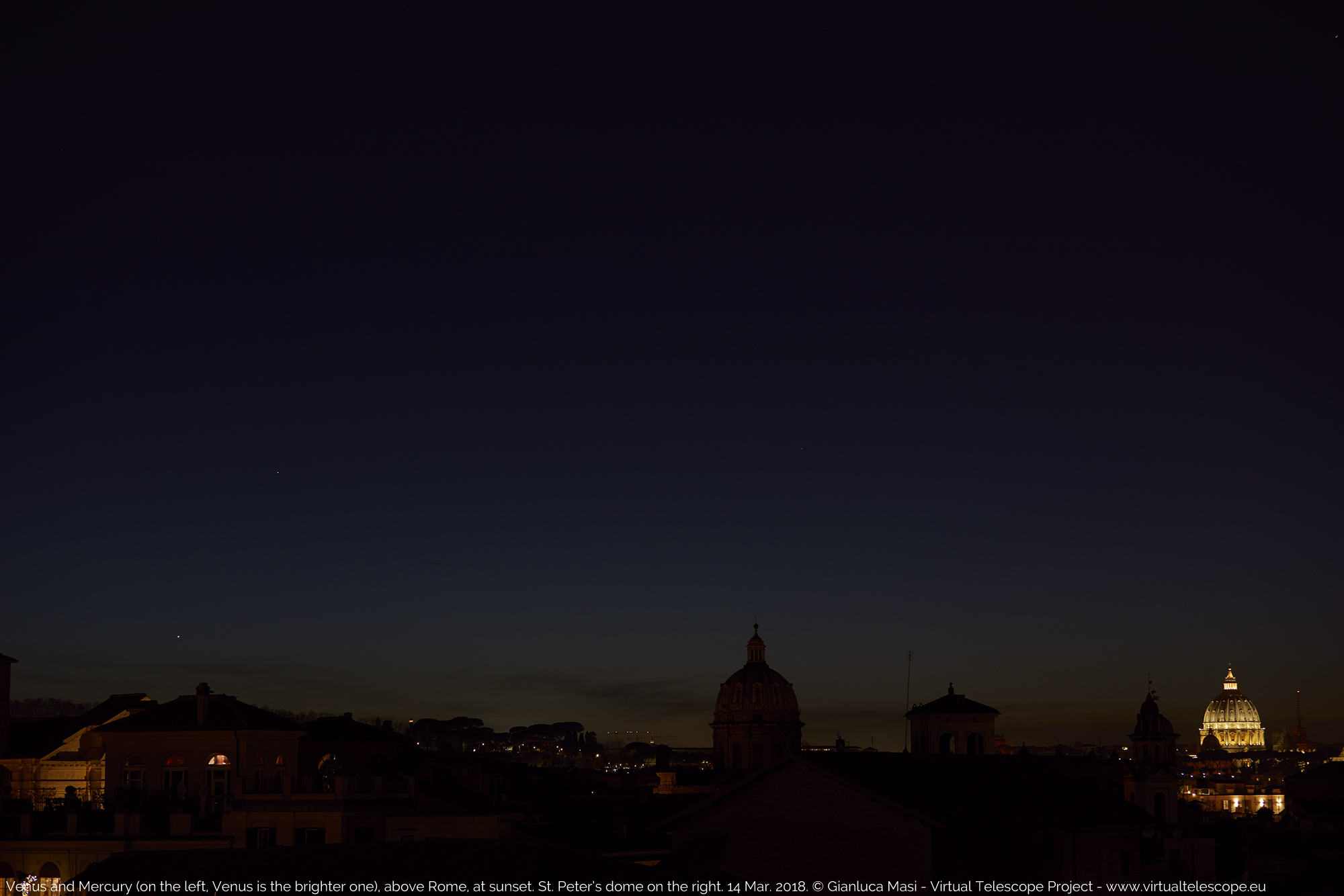 Venus and Mercury are ready to set while the night comes in Rome. St. Peter's dome on the right. 14 Mar. 2018