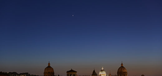 Venus, the Pleiades, Aldebaran and the Hyades above St. Peter. Rome, 25 April 2018. © Gianluca Masi