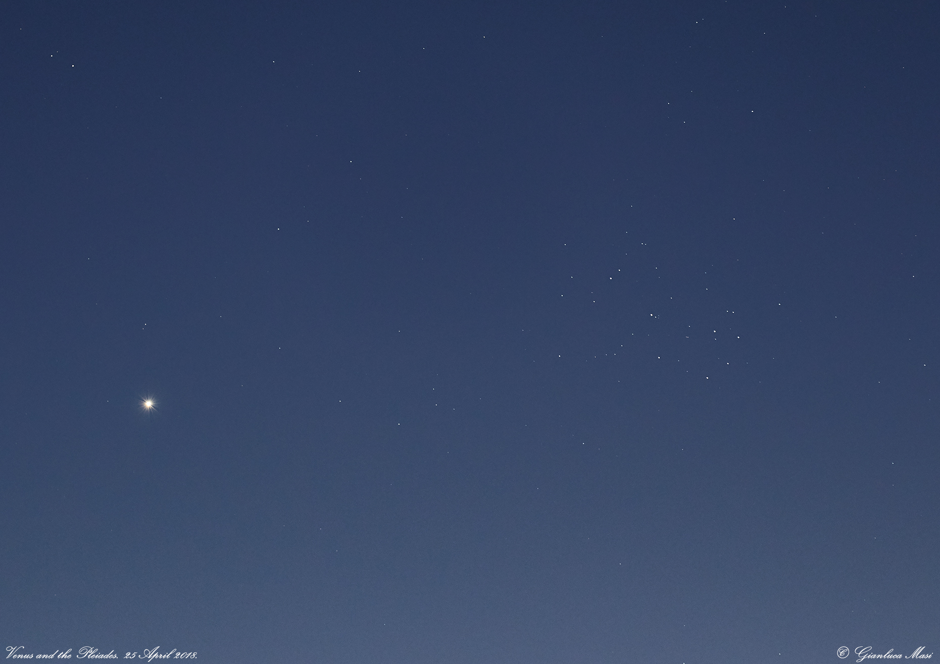 A close-up showing planet Venus and Pleiades