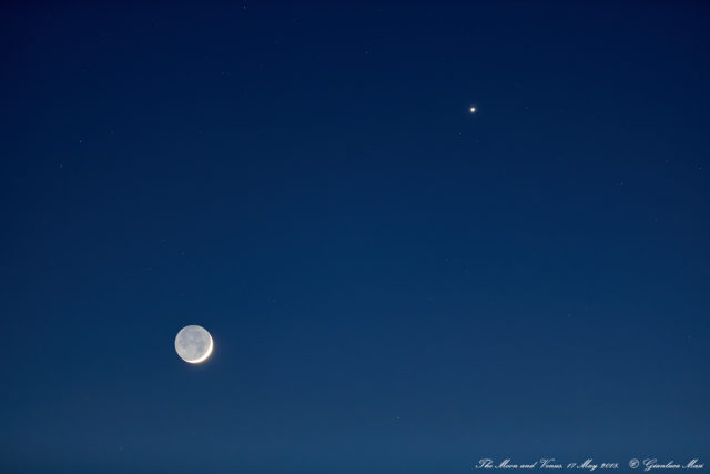 The Moon, with its Earthshine, pairs with Venus soon after sunset, in a still bright and blue sky