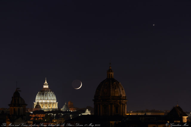 The Moon and Venus ready to set behind St- Peter's Dome. 17 May 2018