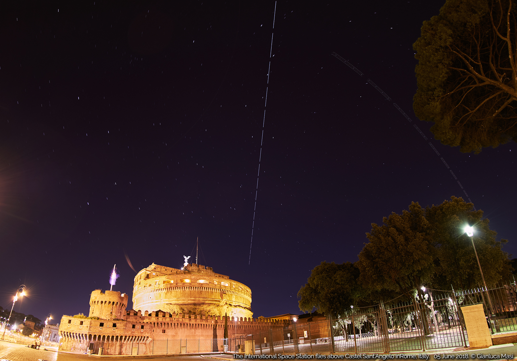 """The International Space Station passes above """"Castel Sant'Angelo"""" in Rome. 5 June 2018."""
