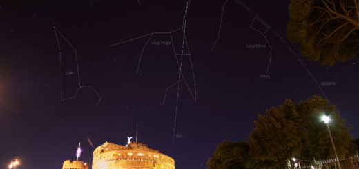 The ISS trail is showing among some well-known constellations, with the Mausoleum of Hadrian below.