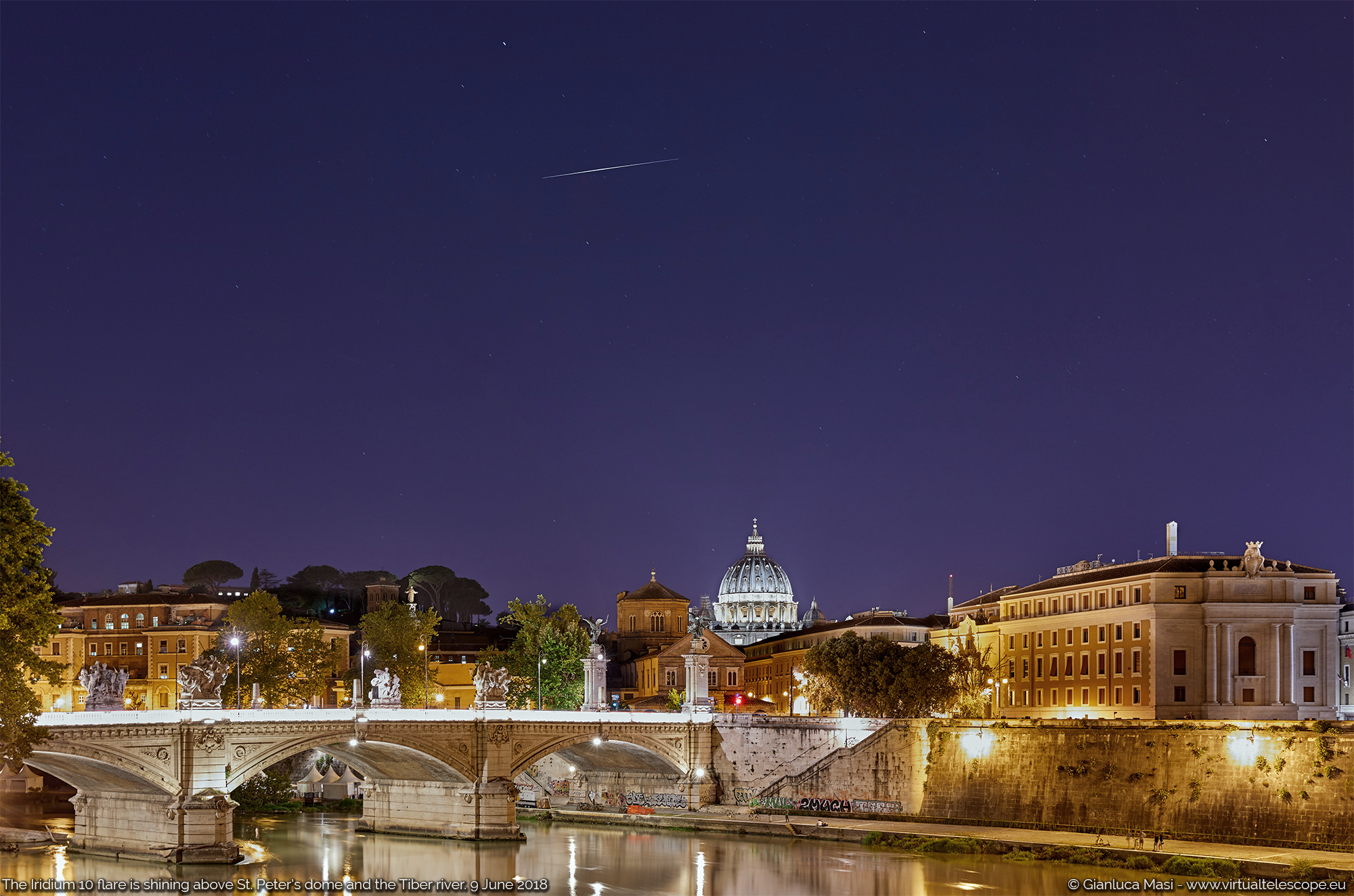Satellite Iridium 10 made a very bright flare above Rome on 9 June 2018