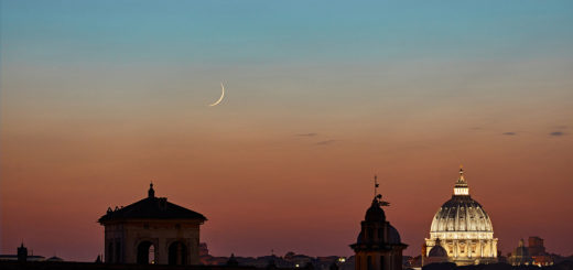 A sharp lunar crescent hangs above St. Peter's Dome, with Mercury on the left - 14 July 2018