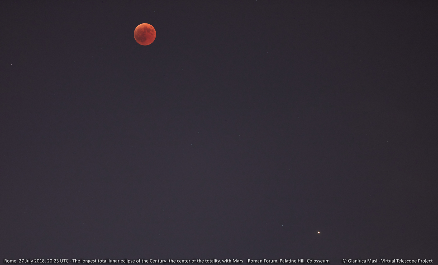 The Moon at the greatest eclipse and Mars