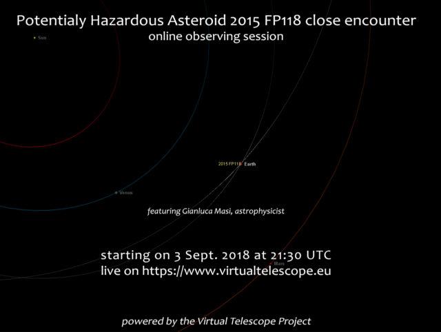 Potentially Hazardous Asteroid 2015 FP118 close encounter: online event - 3 Sept. 2018