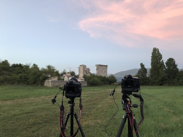 """The """"Madonna della Neve"""" ruins and the imaging cameras ready to capture the Perseids"""