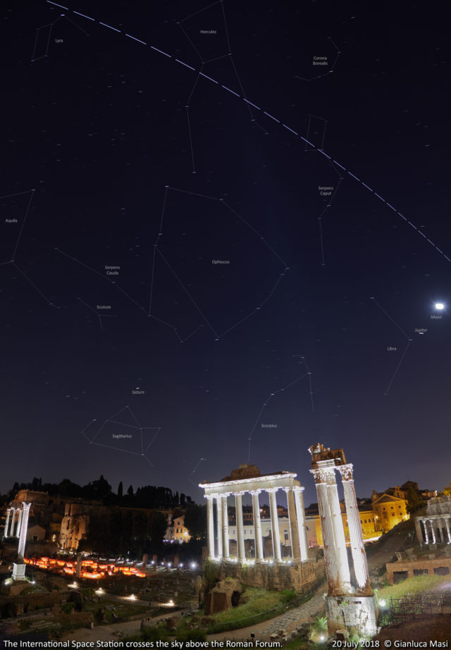 The ISS passes above the Roman Forum: annotated image - 20 July 2018