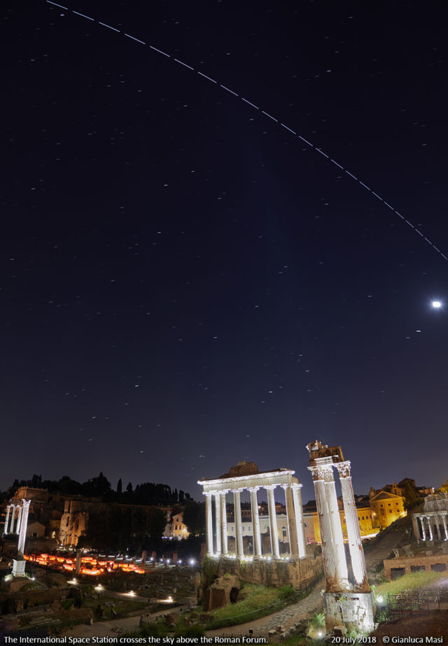 The International Space Station crosses the sky above the Temple of Saturn and the Temple of Vespasian and Titus, at the Roman Forum. - 20 July 2018