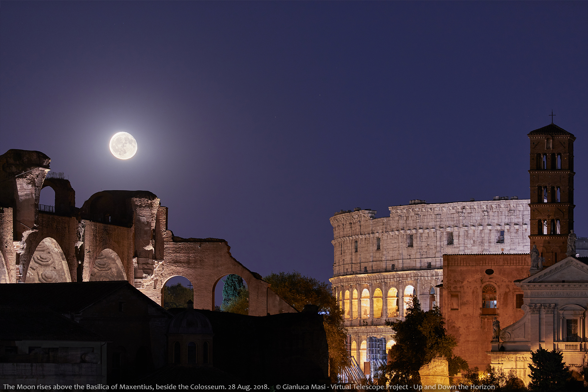 The Moon enters the scene on the Basilica of Maxentius , with the Colosseum on the right - 28 Aug. 2018