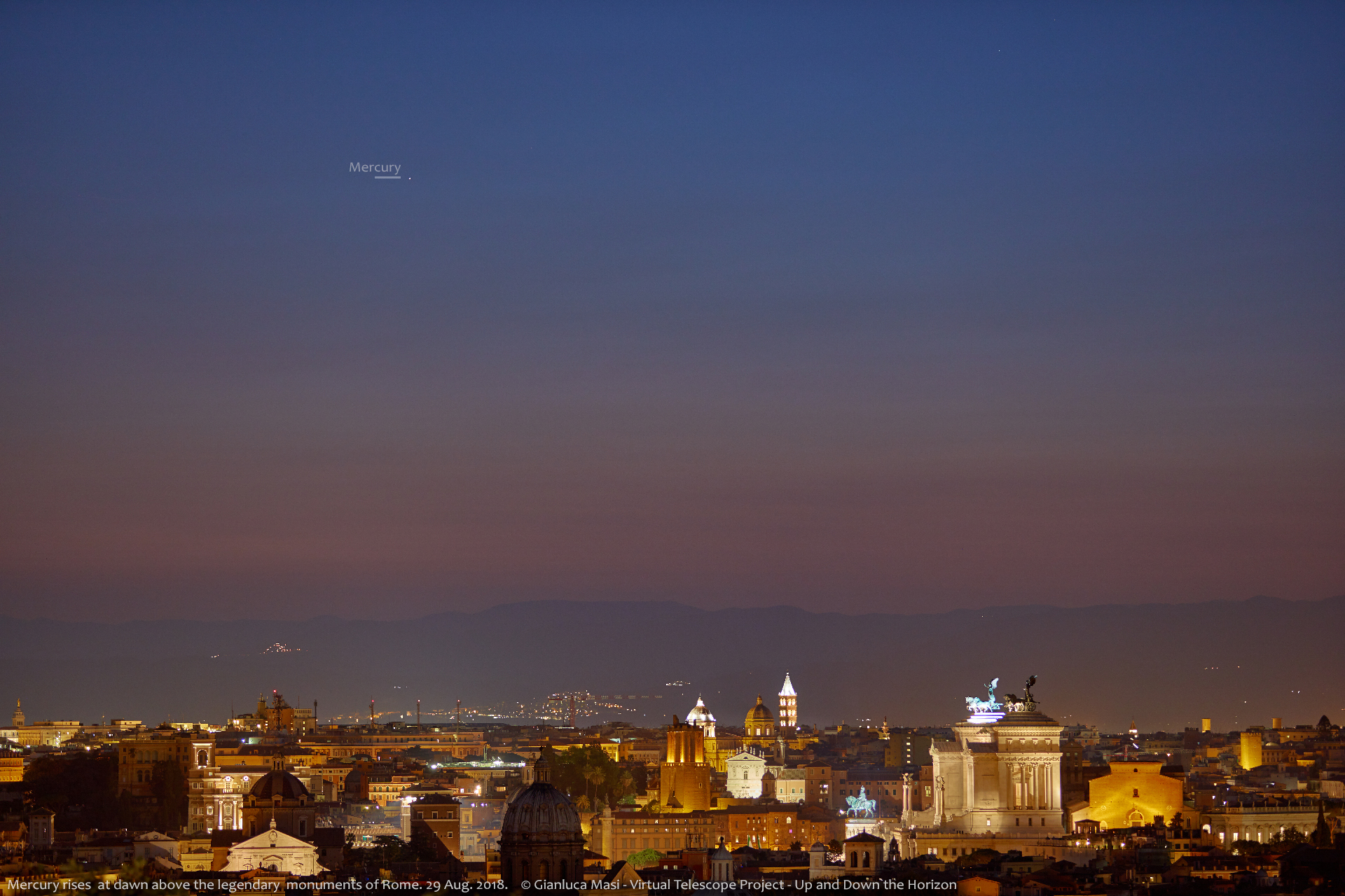 Mercury is rising just before the Sun above Rome an dome of its precious monuments - 29 Aug. 2018