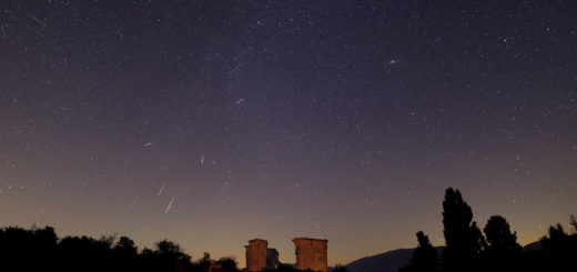 """A number of bright, greenish Perseids crossed the sky above the ruins of the church of """" Madonna dellla Neve"""" (XVI Century) in Castel Santa Maria (PG), Italy. 12 Aug. 2018."""