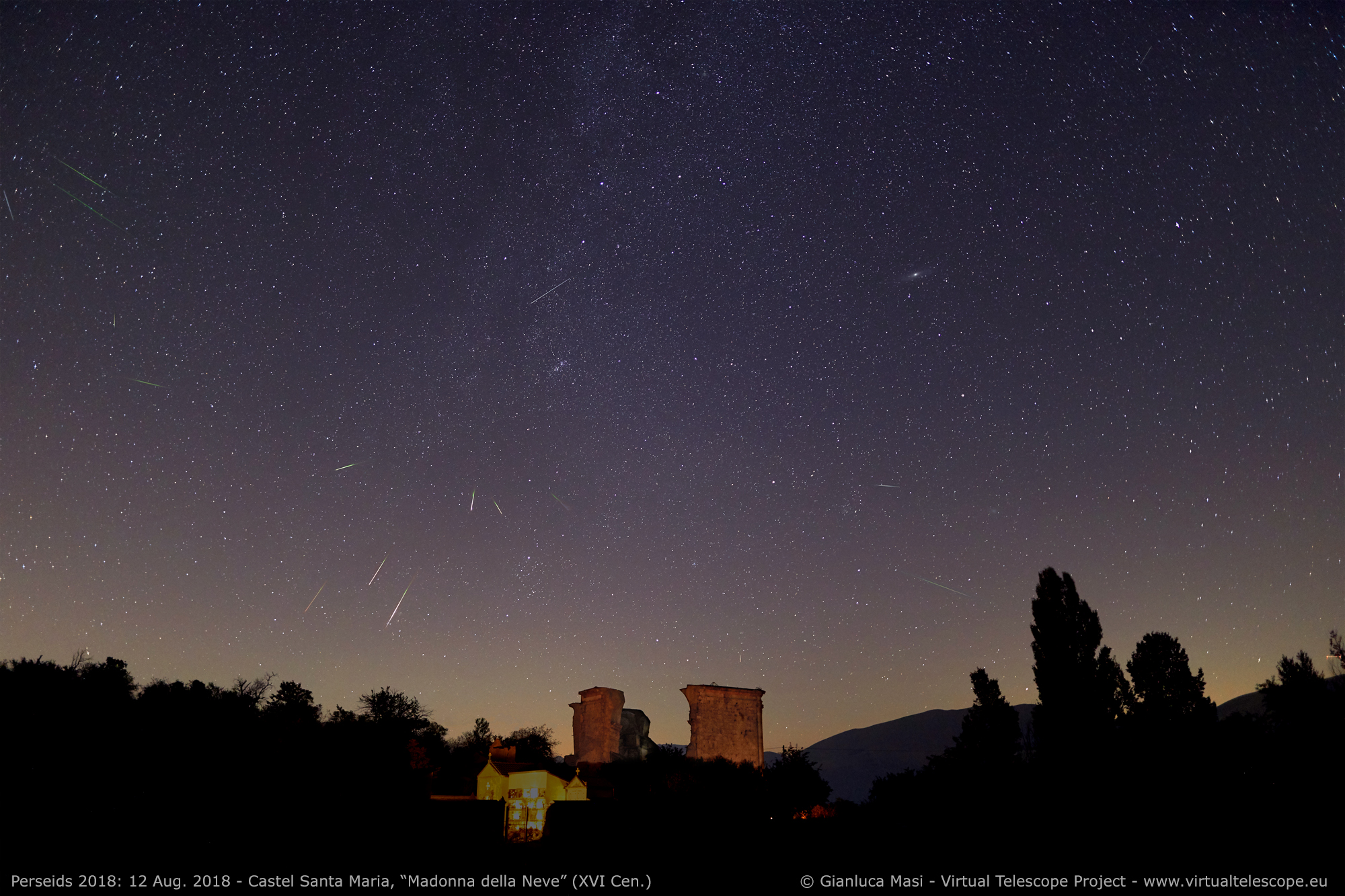 "A number of bright, greenish Perseids crossed the sky above the ruins of the church of "" Madonna della Neve"" (XVI Century) in Castel Santa Maria (PG), Italy. 12 Aug. 2018."
