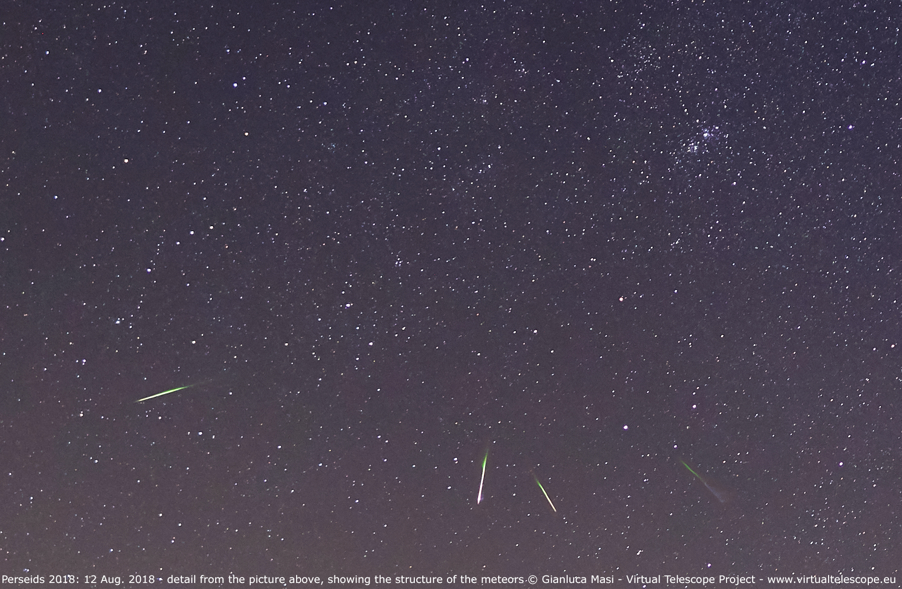 A close-up, showing the structure of the meteor streaks
