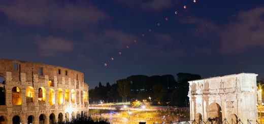 The eclipsed Moon and planet Mars cross the sky above the Colosseum and the Arch of Constantine - 27 July 2018