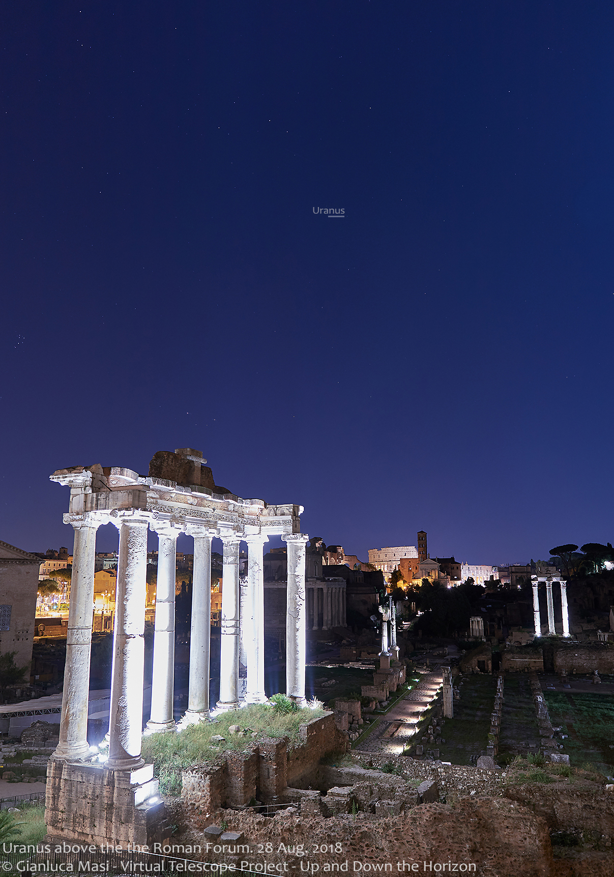 Uranus is discreetly shining above the Roman Forum, with the Pleiades visible on the left - 28 Aug. 2018