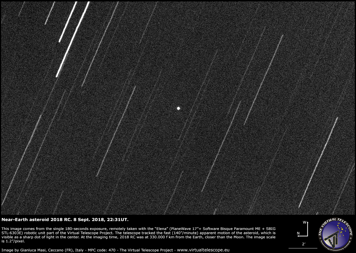 near earth asteroid 2018 rc very close encounter image and podcast
