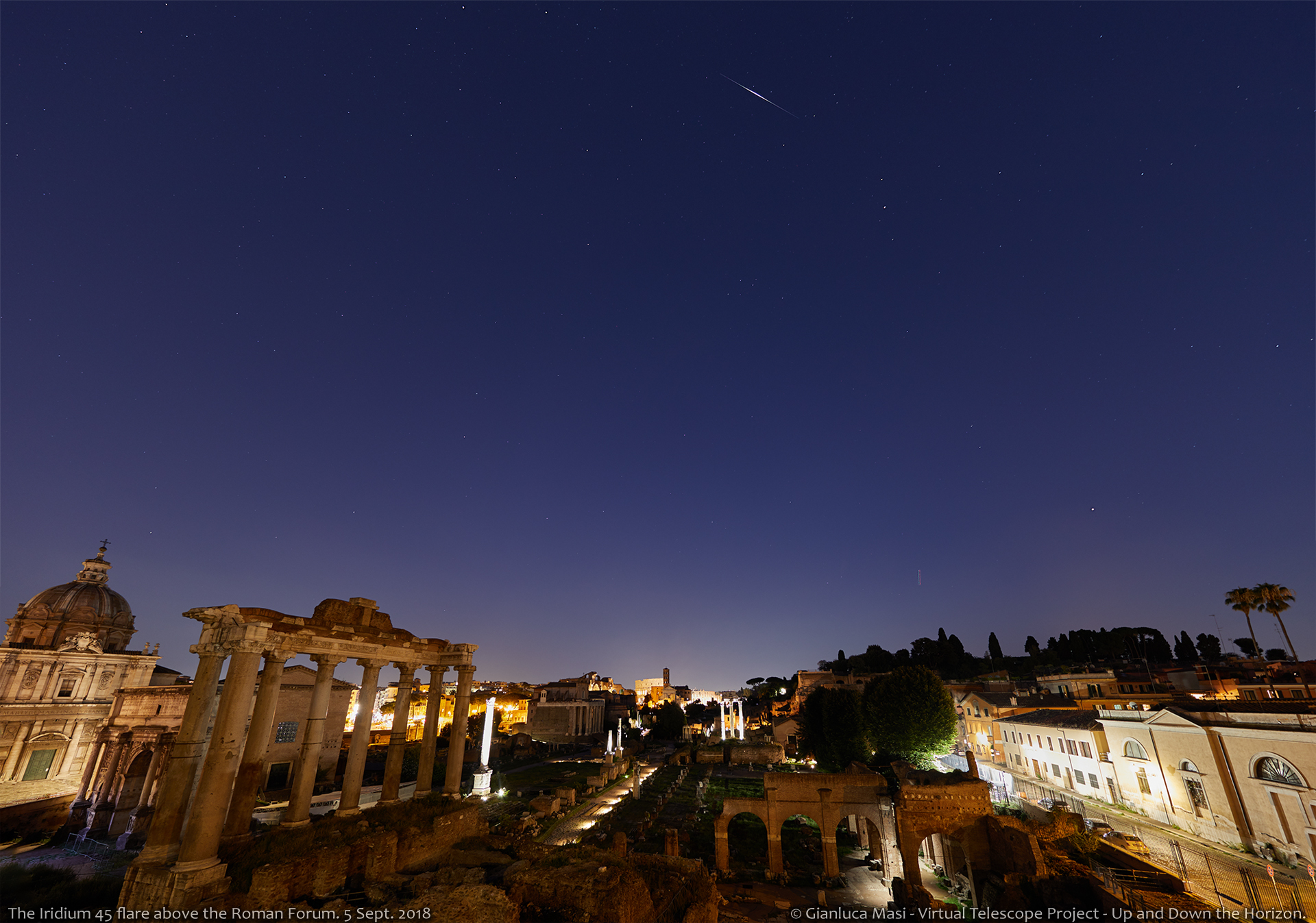 The Iridium 55 satellite flares as bright as mag. -7.5 above the Roman Forum and the Colosseum - 5 Sept. 2018