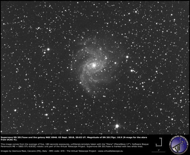 Supernova SN 2017eaw and NGC 6946: 3 Sept. 2018