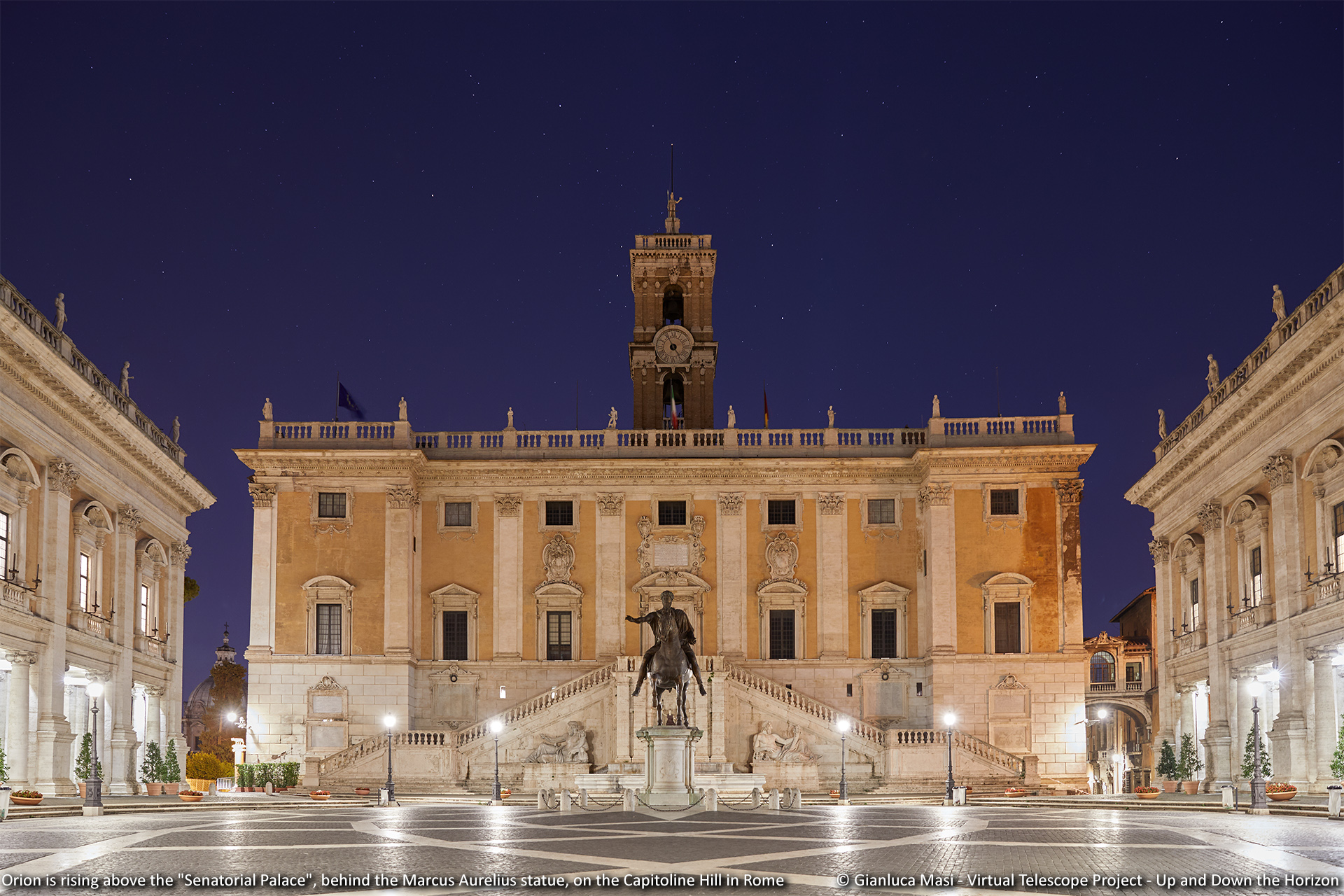 Orion is rising above the Senatorial Palace, behind the Marcus Aurelius statue. Capitoline Hill, Rome.