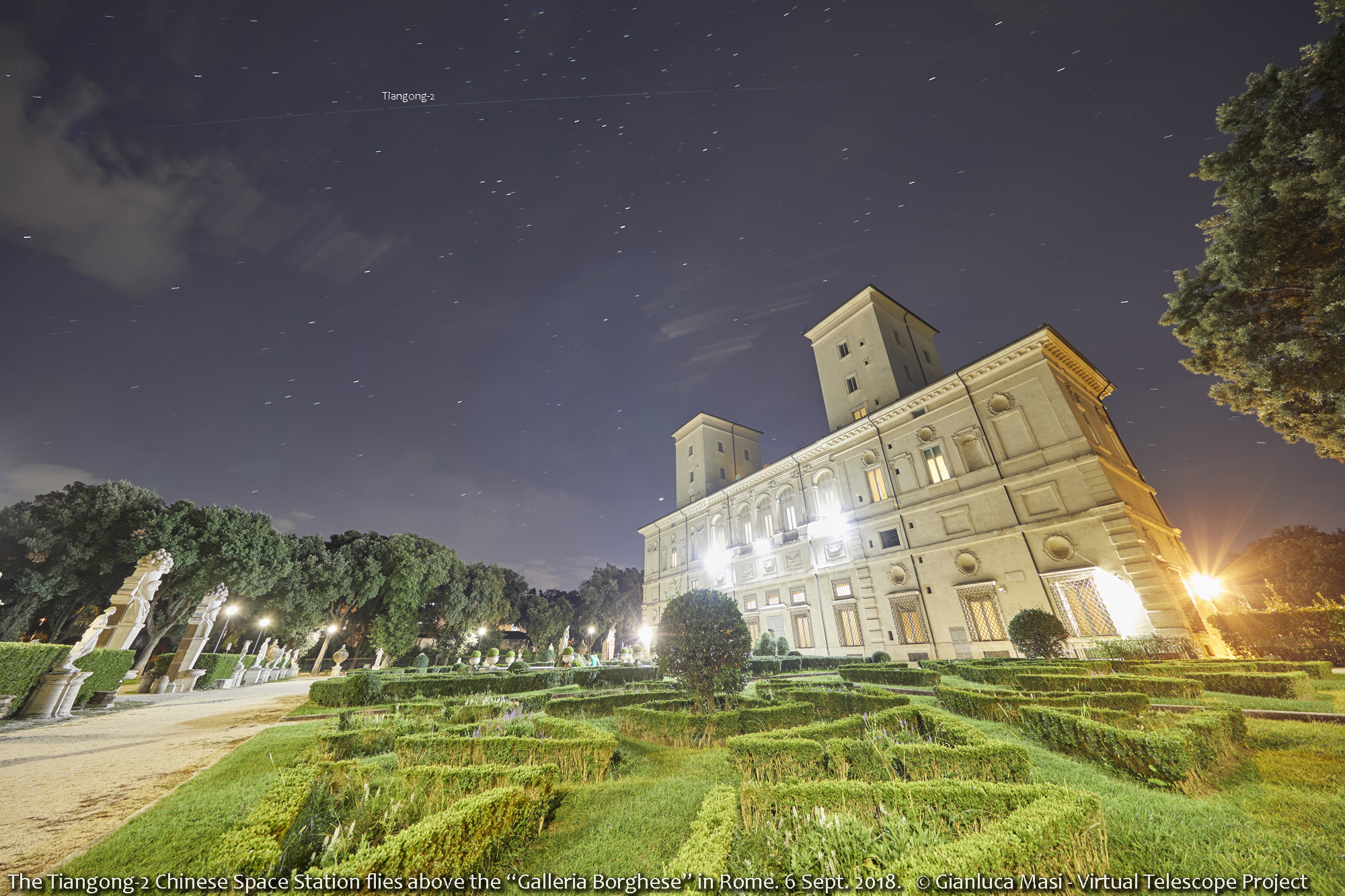 The Tiangong-2 flies above the Galleria Borghese Museum in Rome - 6 Sept. 2018