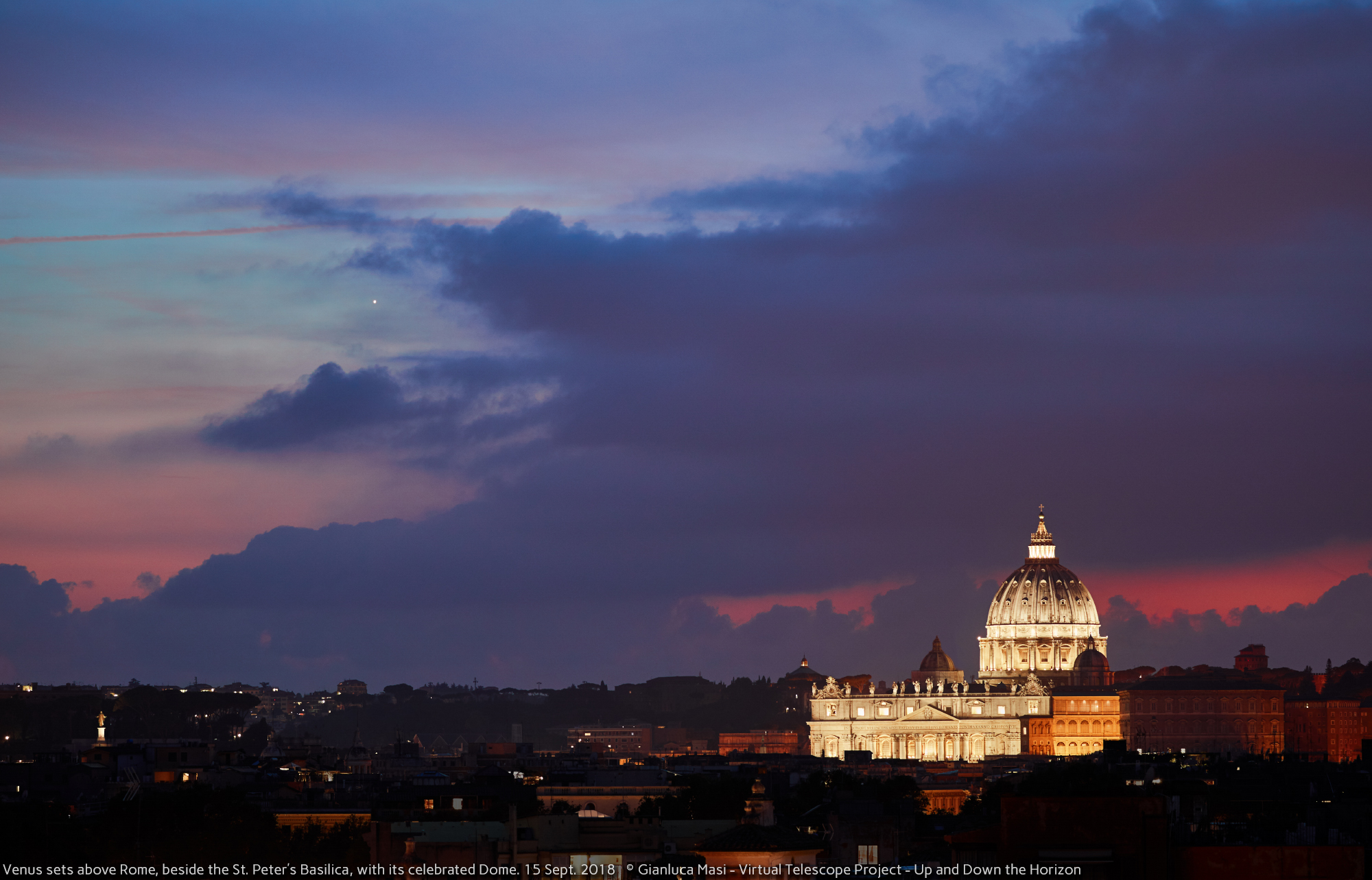 Venus sets beside the legendary St. Peter's Dome and Basilica - 15 Sept. 2018
