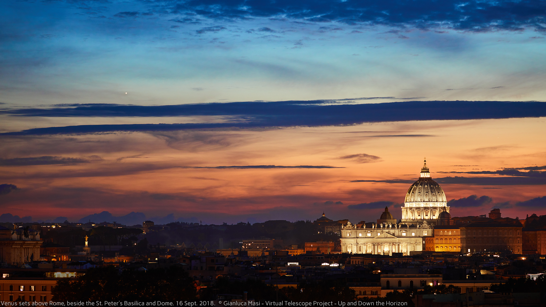 Venus approaches the St. Peter's Dome and Basilica before setting - 16 Sept. 2018