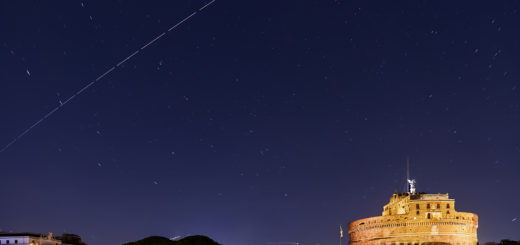 The International Space Station crosses the sky above Castel Sant'Angelo in Rome. 7 Oct. 2018.