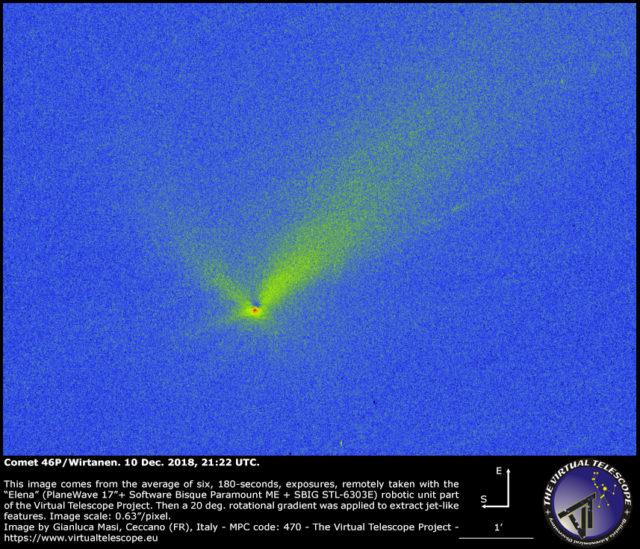 Comet 46P/Wirtanen after a rotational gradient filter: 10 Dec. 2018
