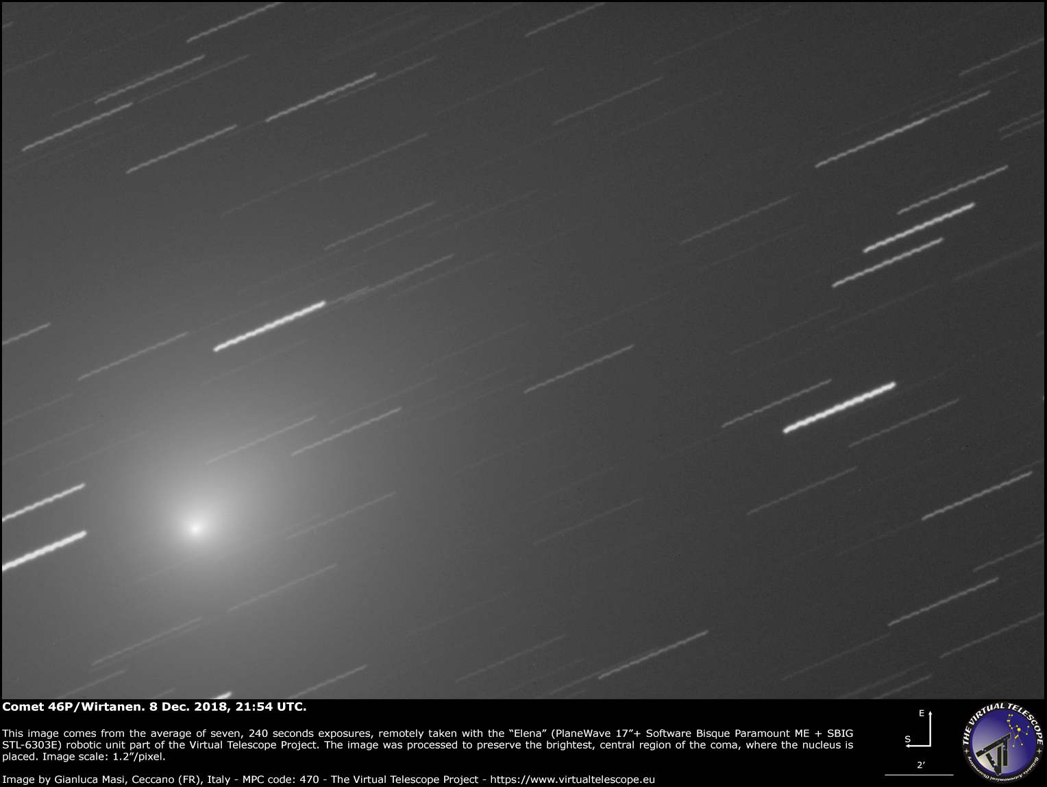 Comet 46p Wirtanen Show A New Image 8 Dec 2018 The