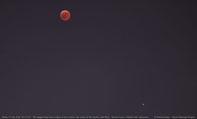 La Luna al massimo dell'eclissi del 27 luglio 2018, con in basso Marte