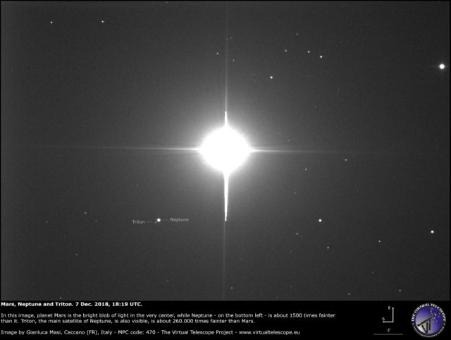 Mars, Neptune and Triton in close conjunction - 7 Dec. 2018