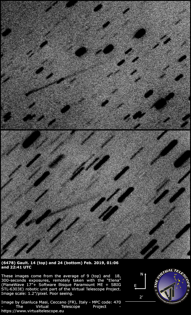 Asteroid (6478) Gault and its tail: negative palette -14 and 24 Jan. 2019