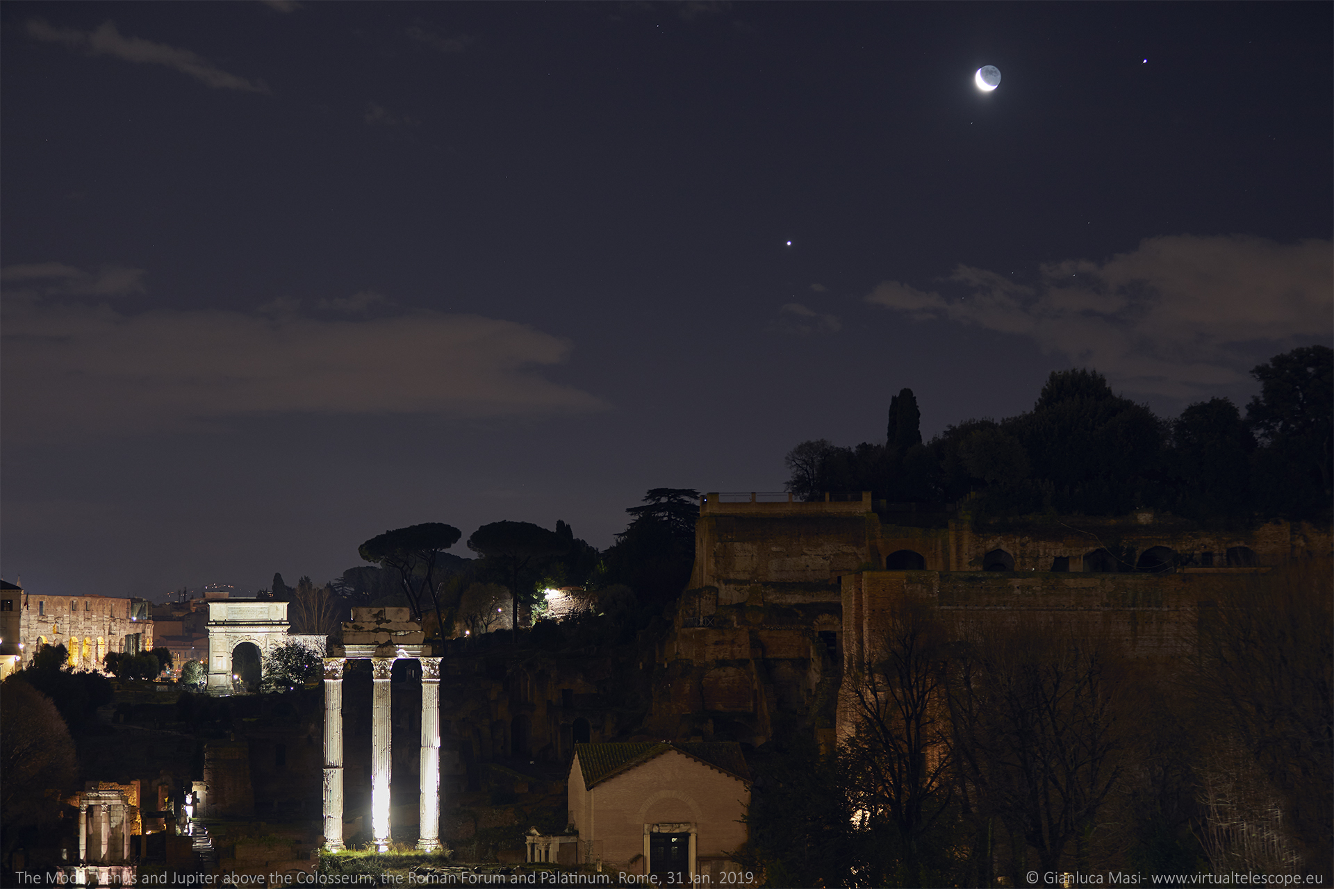 The Moon, Venus and Jupiter shine above the Colosseum, the Roman Forum and the Palatine Hill - 31 Jan. 2019