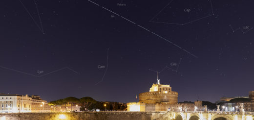 The International Space Station surfs the sky above Castel Sant'Angelo in Rome. Constellations are also visible and labelled - 28 Feb. 2019.