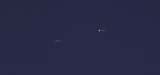 Mars and Uranus in conjunction, being 1 deg. apart - 12 Feb. 2019