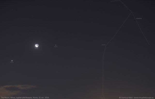 The Moon, Venus, Jupiter, Antares and the head of Scorpius - 31 Jan. 2019