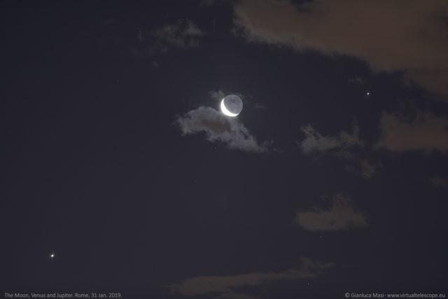 The Moon, Venus (bottom left) and Jupiter (upper right) - 31 Jan. 2019