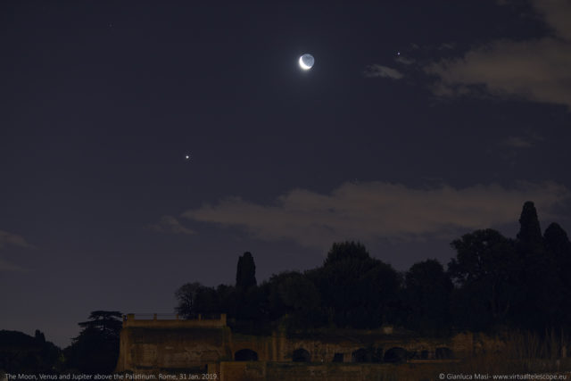 Above the Palatine Hill, the Moon, Venus and Jupiter were a stunning sight - 31 Jan. 2019