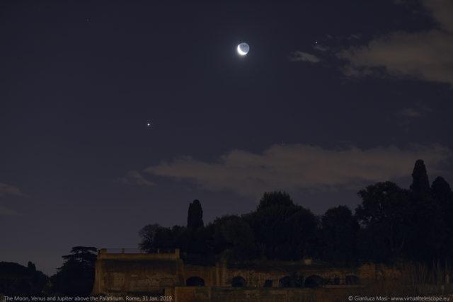 Above the Palatine Hill, the Moon, Venus and Jupiter were a stunning sight - 31 Jan. 2019