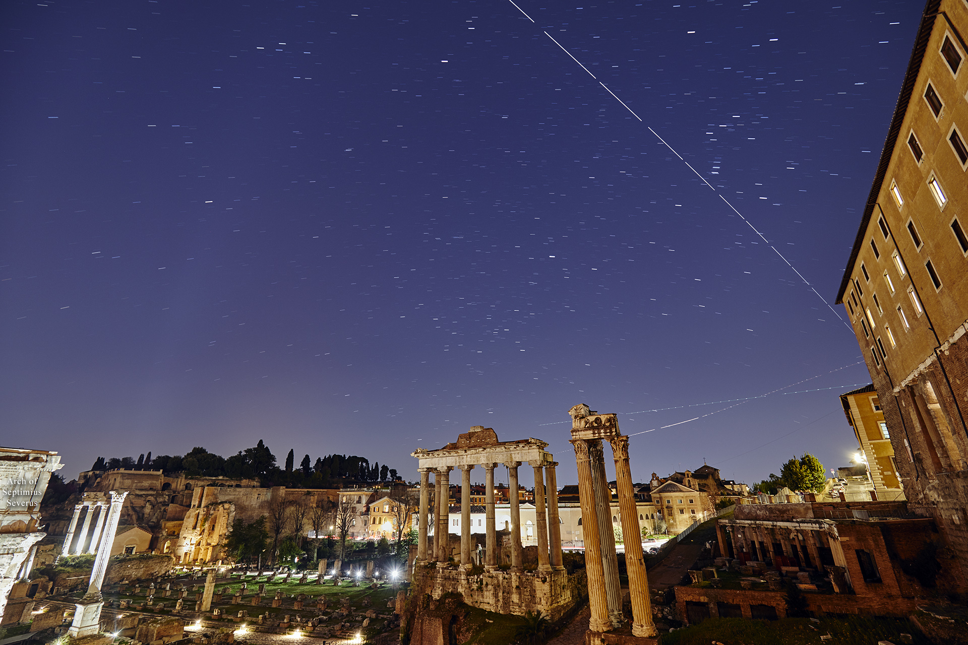 The International Space Station crosses the sky above the Roman Forum - 22 Mar. 2019