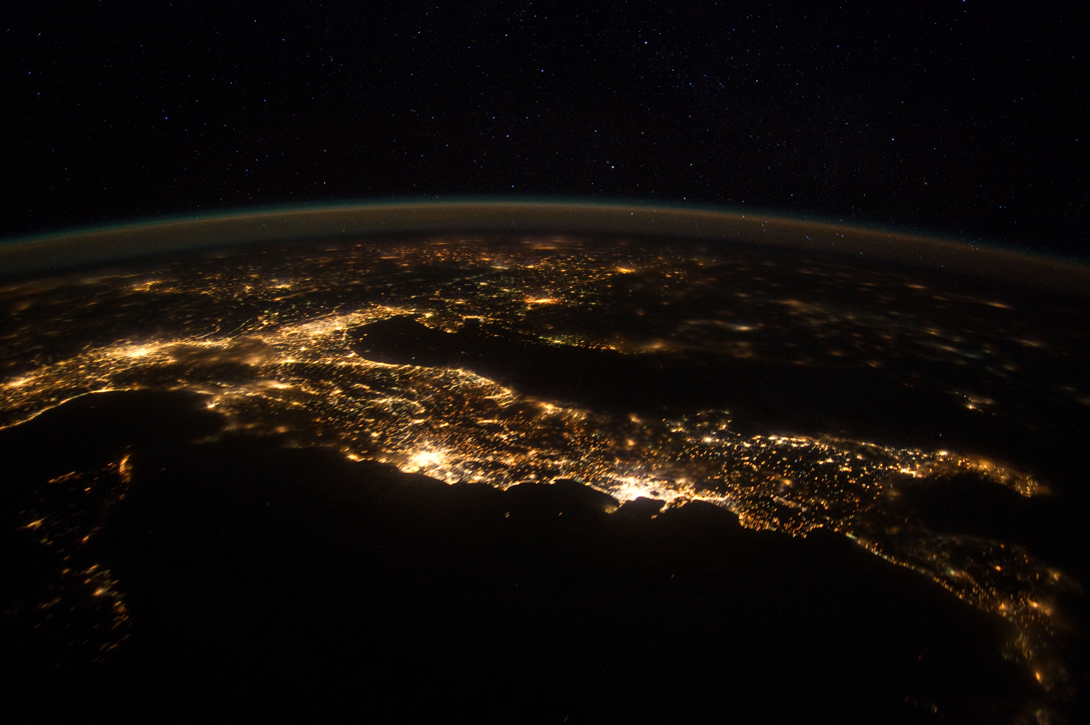 Italy from space reveals a huge amount of light pollution