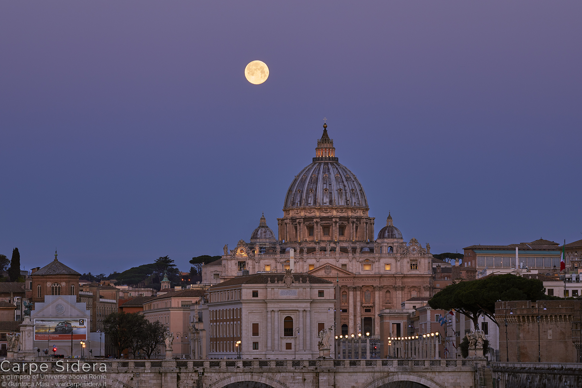 Minute after minute, the Moon gets lower, ready to meet the Dome
