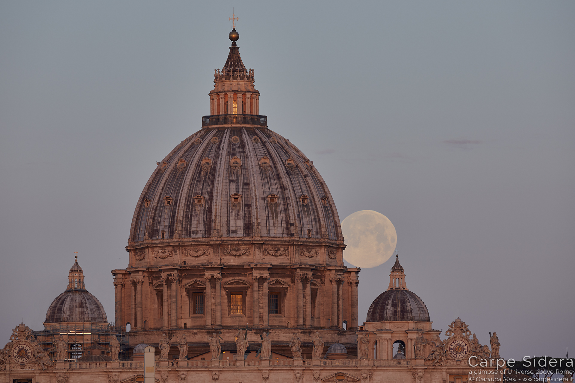 Mother and Daughter: the large and the small domes play with the Moon