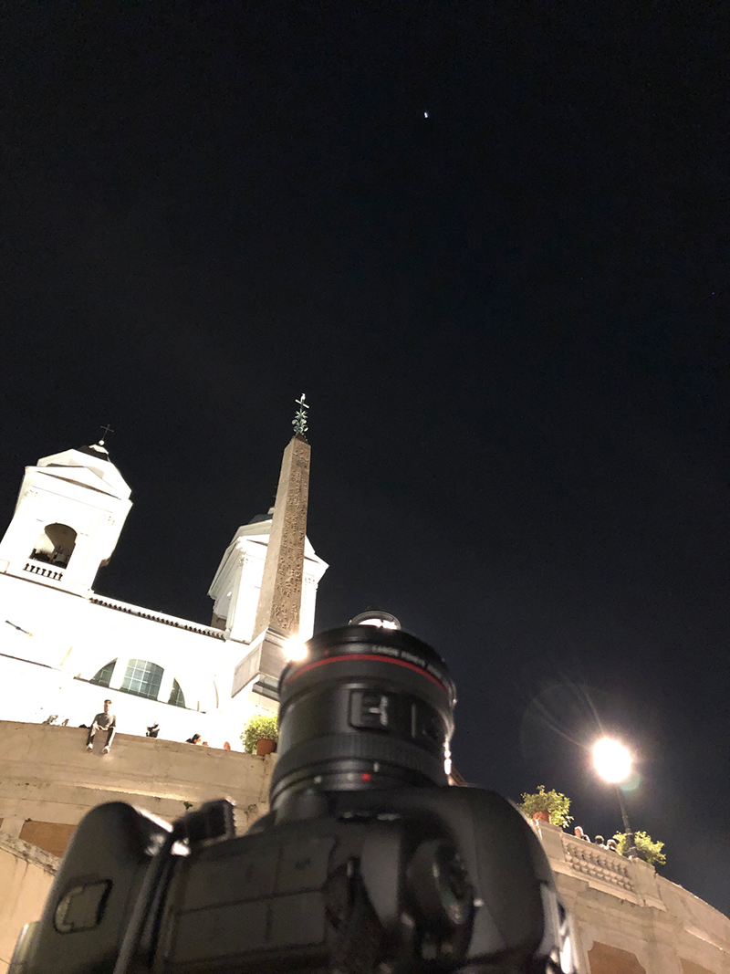 The camera is pointing overhead, with the ISS shining on the top