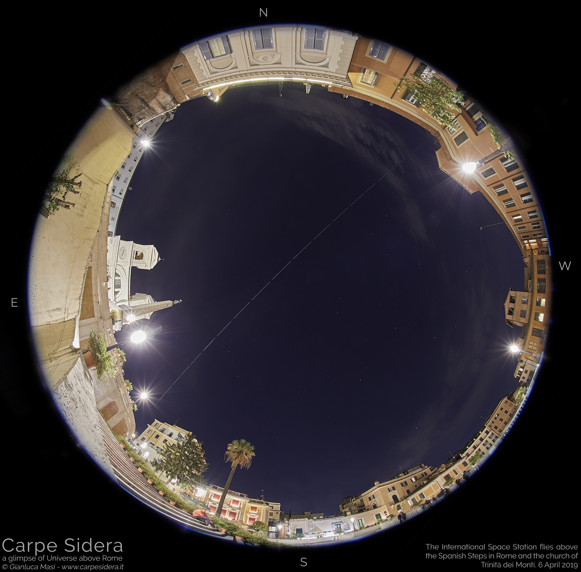The International Space Station makes a spectacular pass above the Spanish Steps and Trinità dei Monti in Rome - 6 Apr. 2019
