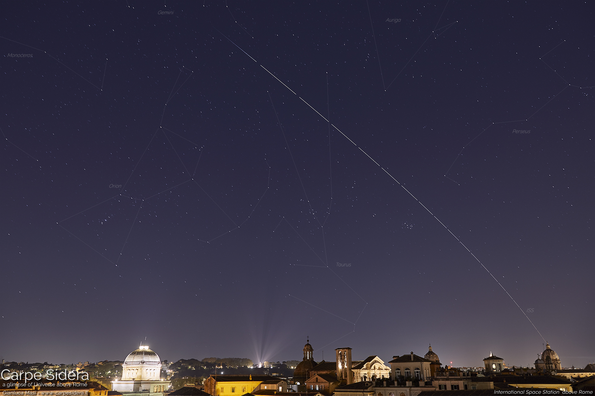 The International Space Station is flying over Rome, on 5 Apr. 2019